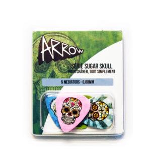Médiators série sugar skull avec des têtes de morts colorées et des fonds de couleurs